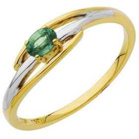 Bague émeraude ovale et diamants 0,18 carat or bicolore