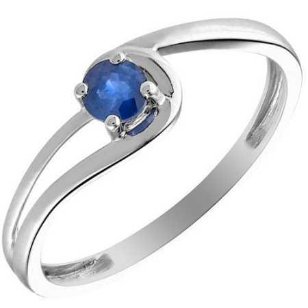 Bague saphir et diamants 0,25 carat or gris