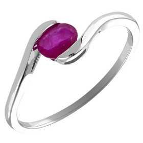 Bague rubis ovale et diamants 0,50 carat or gris