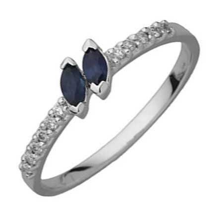 Bague saphirs or gris et diamants
