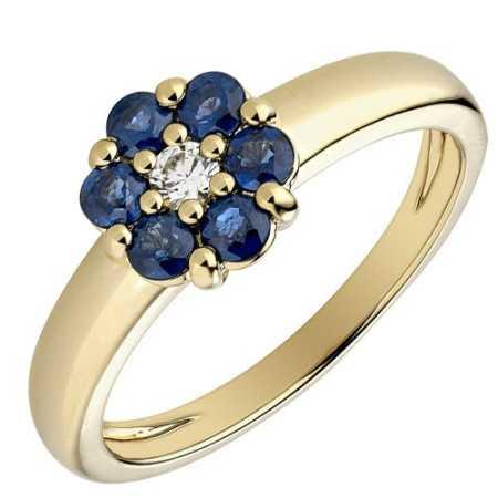 Bague fleur saphir or jaune et diamants