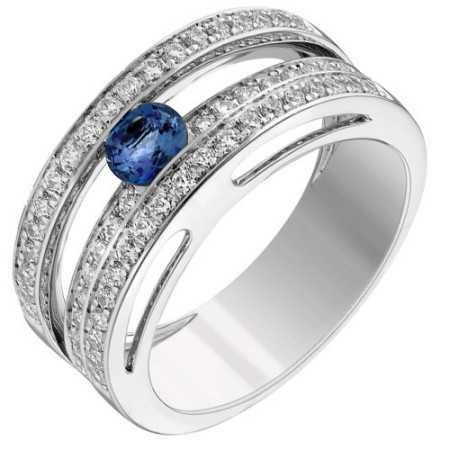 Bague saphir or gris et diamants