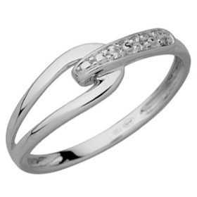 Bague diamants or gris en forme de boucle