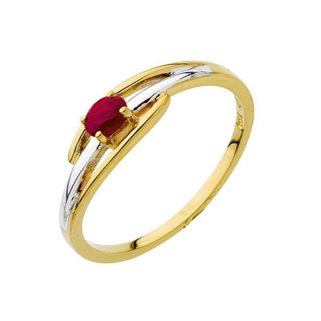 bague or bicolore rubis