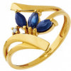 Bague saphirs or jaune et diamants