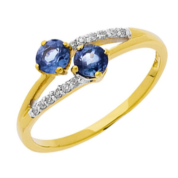 Bague saphir or jaune et diamants