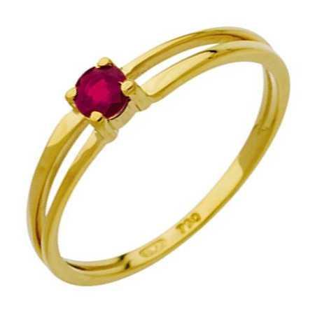Bague rubis 0,24 carat or jaune