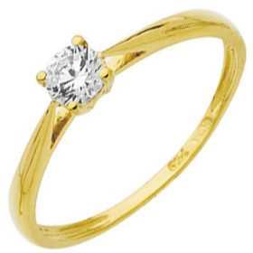 Bague oxyde de zirconium 4 mm or jaune style solitaire