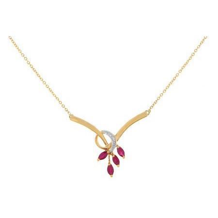 Collier or rubis et diamants