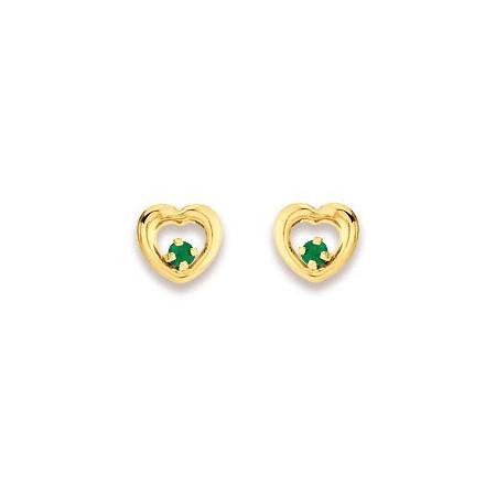 Clous d'oreilles coeurs en or avec émeraudes