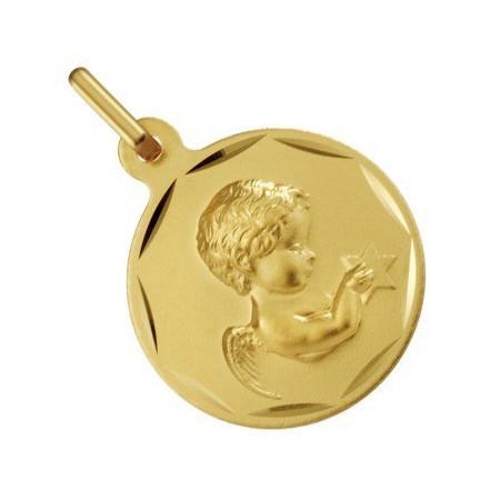 Médaille ange en or diamètre 15 mm
