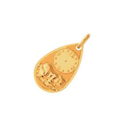 Pendentif horloge de naissance en or pour bébé