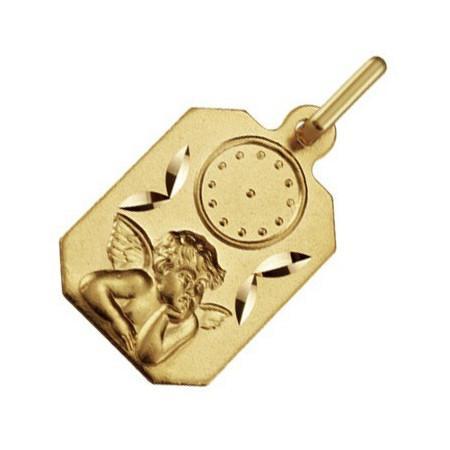 Médaille ange en or avec heure de naissance pour bébé