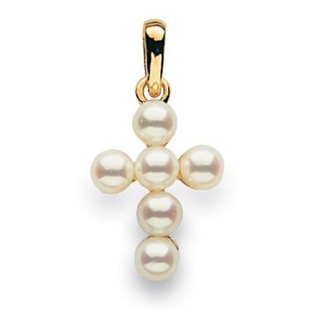 Pendentif croix perles