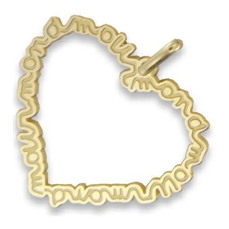 """Pendentif or jaune grand coeur découpé avec inscription """"mon amour"""""""