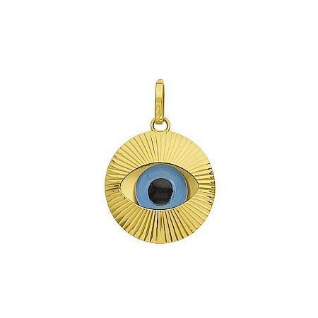 Pendentif oeil bleu en or, protection