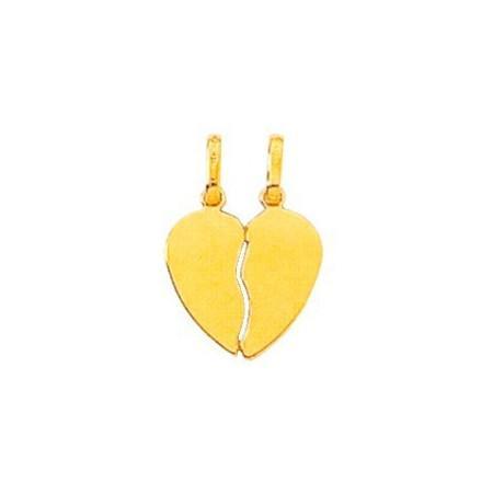 Pendentif or coeur cassant en or jaune