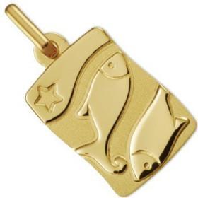 Médaille zodiaque poissons en or