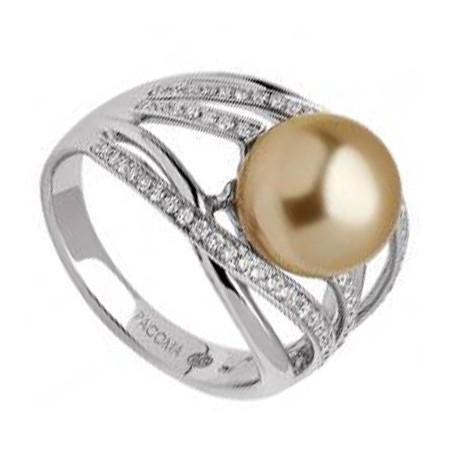 Bague or blanc avec perle dorée mer du sud
