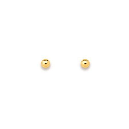 Clous d'oreilles boules en or 3 mm