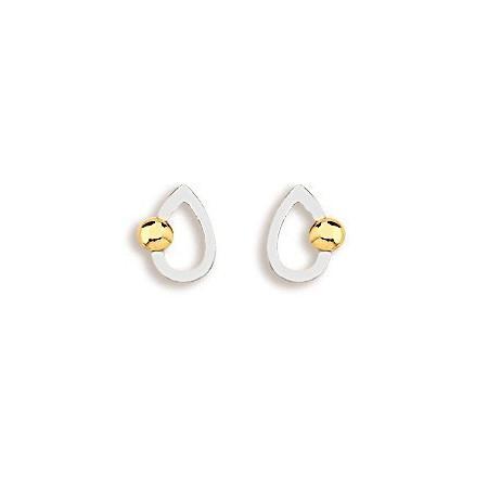 Boucles d'oreilles perle or sur goutte ajourée