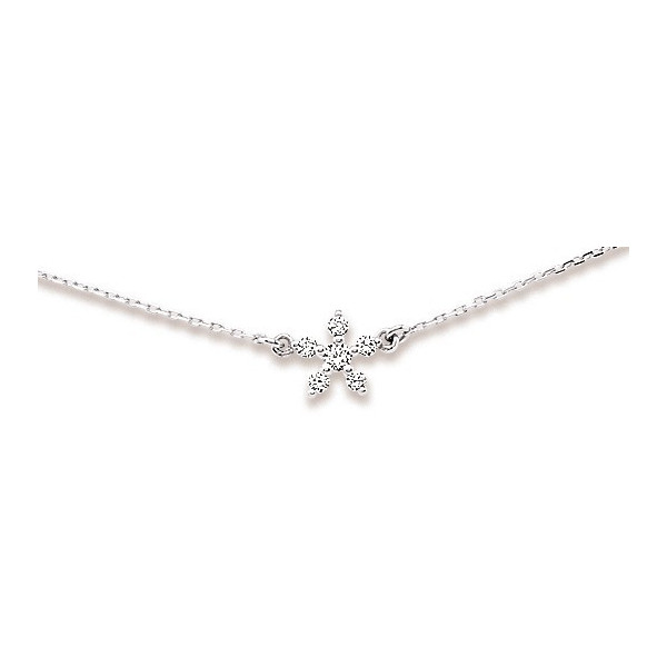 Collier flocon de neige en or avec diamants